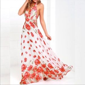 Lulu's | Poppy Song Halter Maxi Dress S